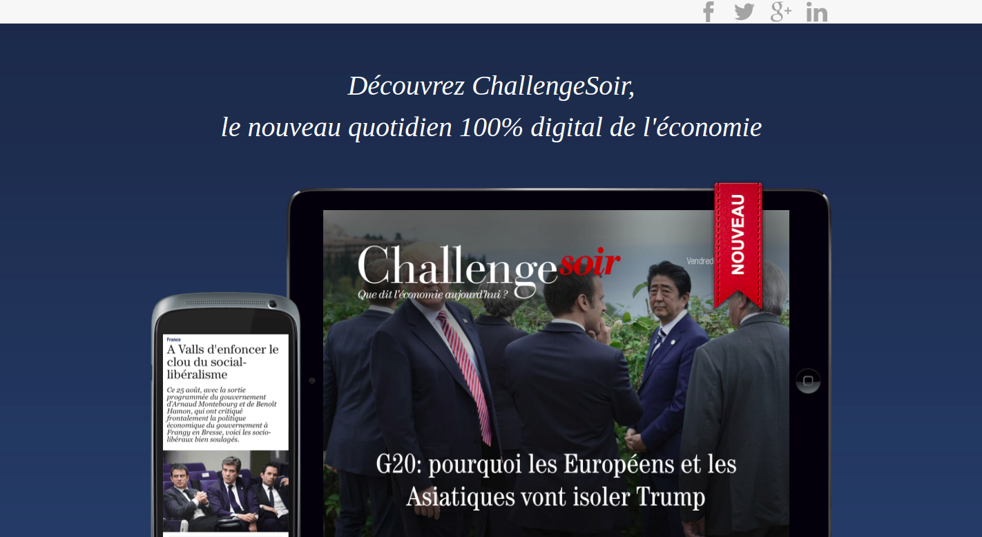 Screenshot of Challenge Soir promotion page