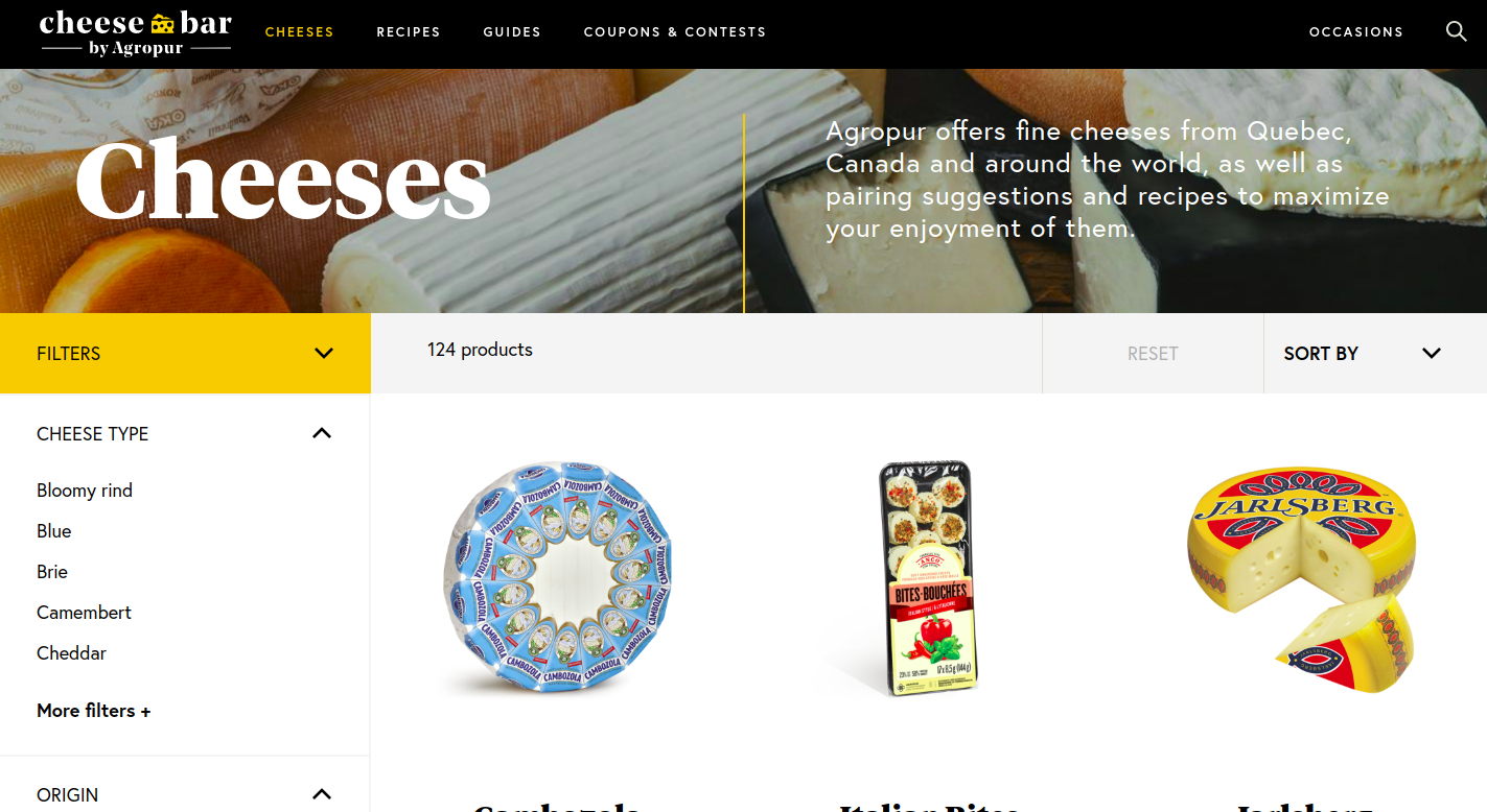 Screenshot of Cheesebar Product listing page