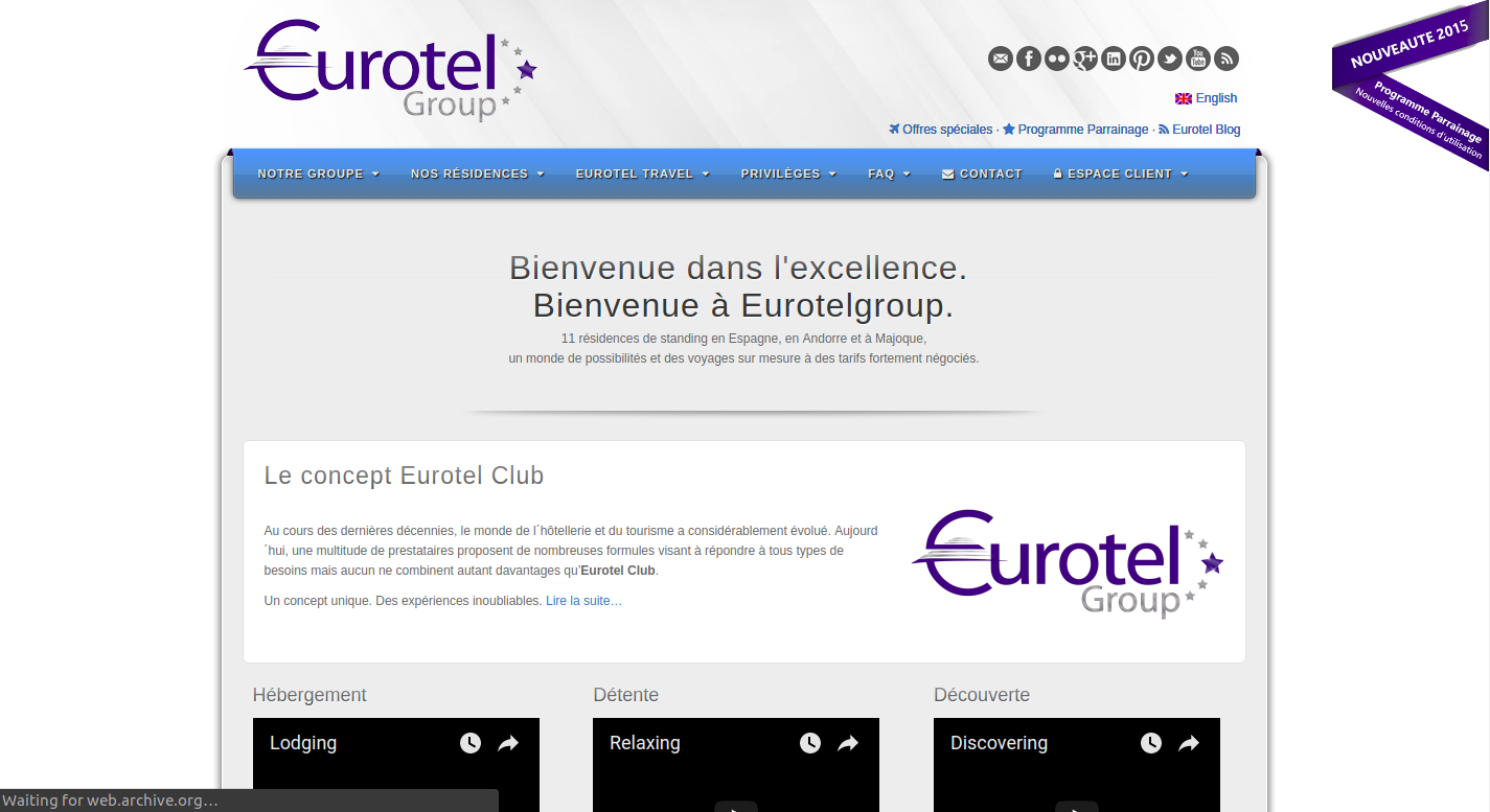 Screenshot of Eurotelgroup homepage in 2015