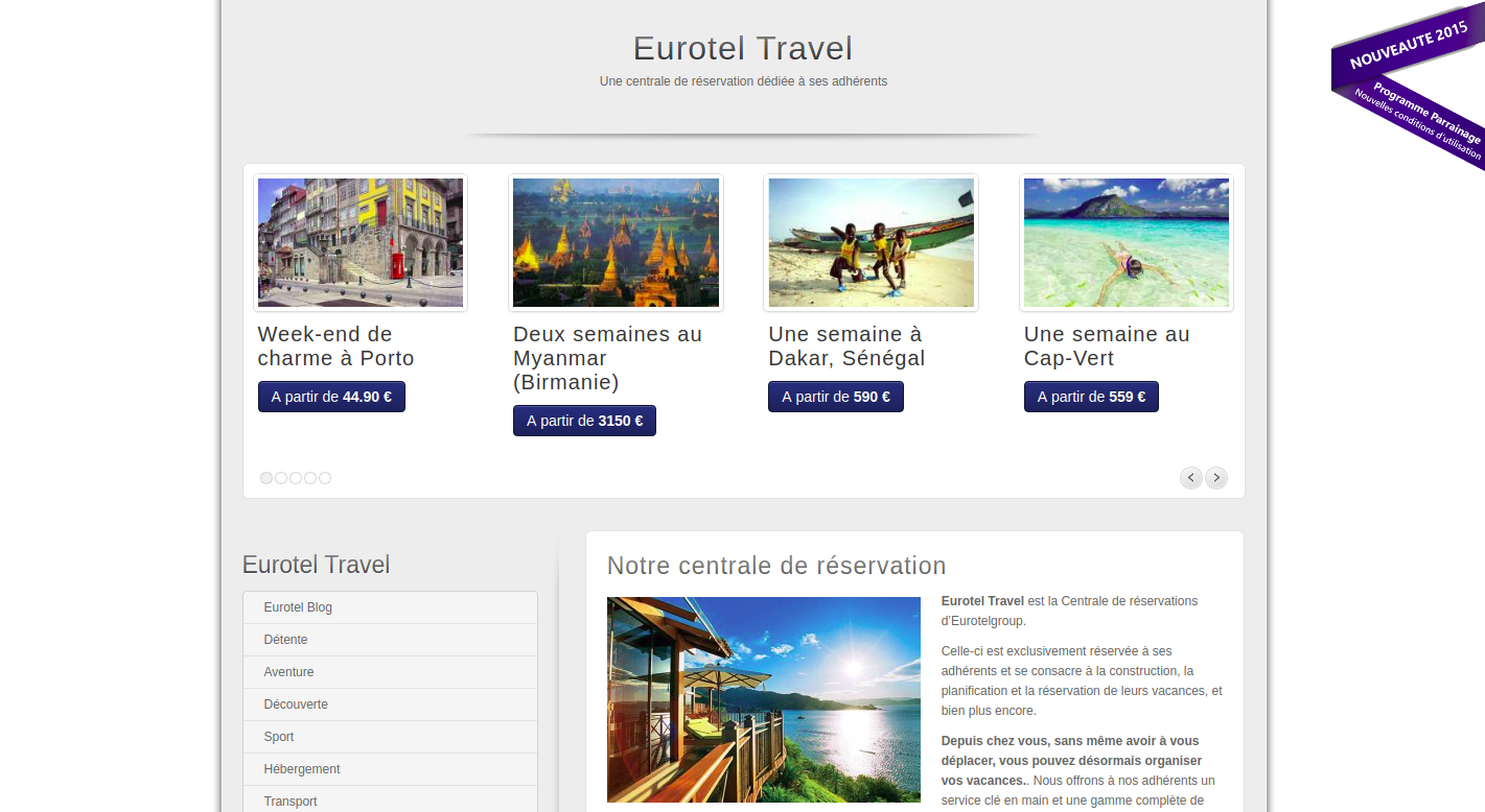 Screenshot of a page of the Eurotel website