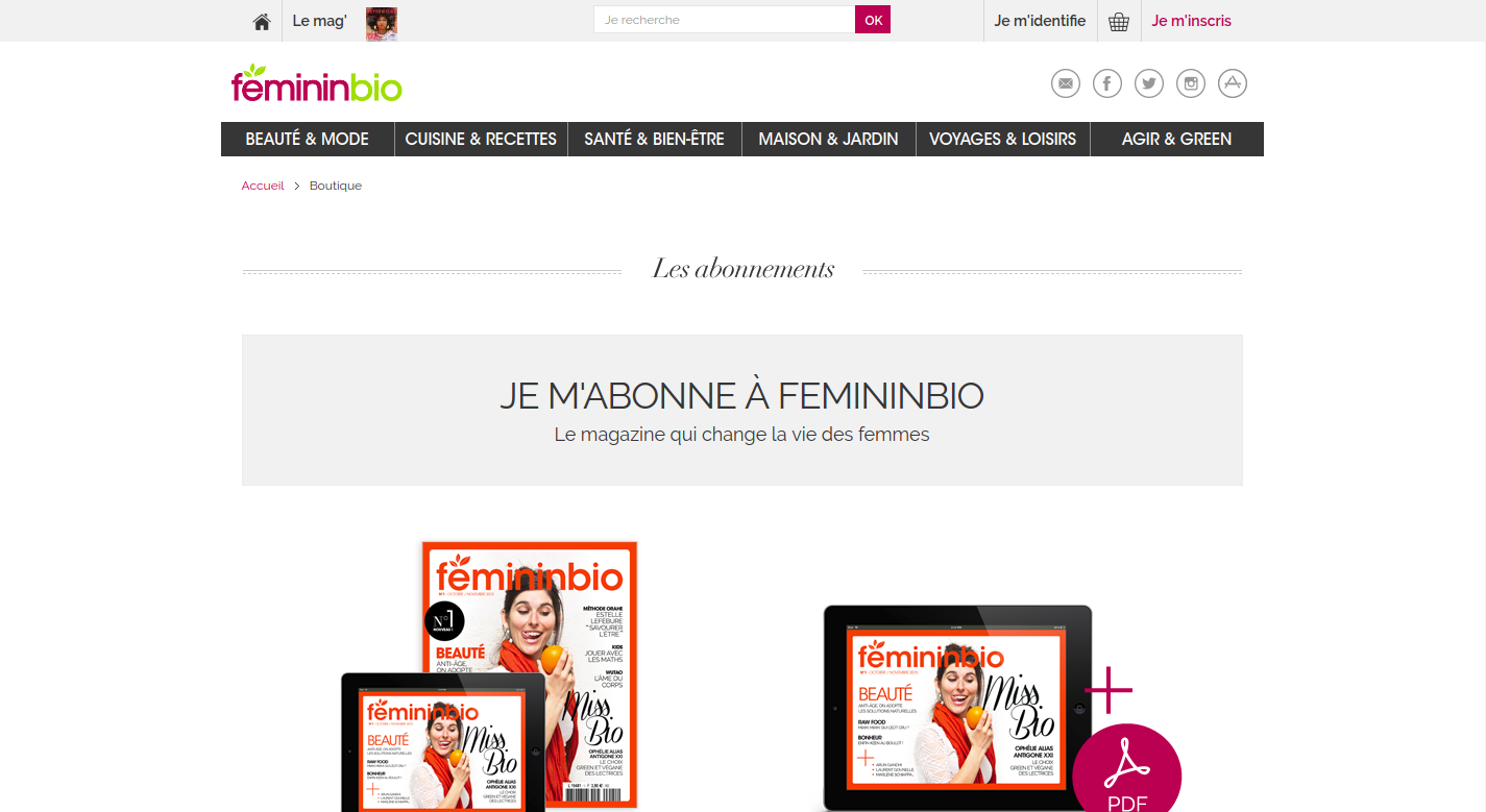 Screenshot of FemininBio promotion page