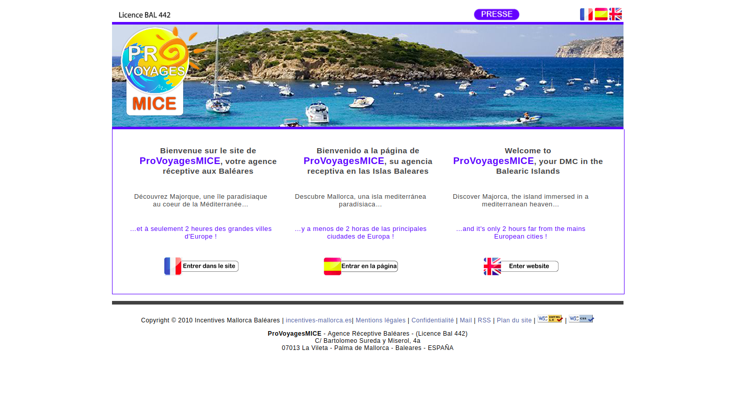 Screenshot of Incentives Mallorca homepage
