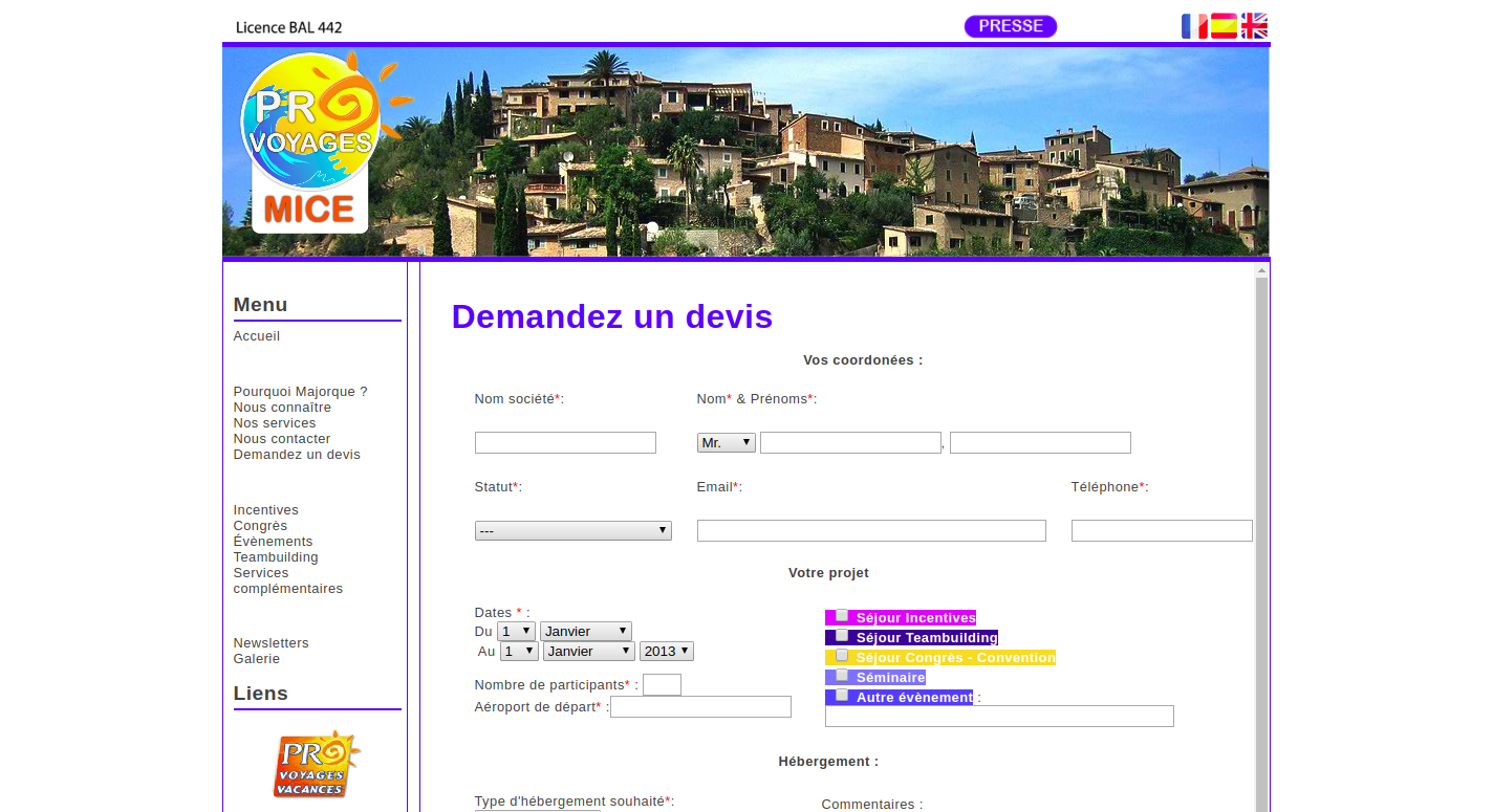 Screenshot of Incentives Mallorca online quote form