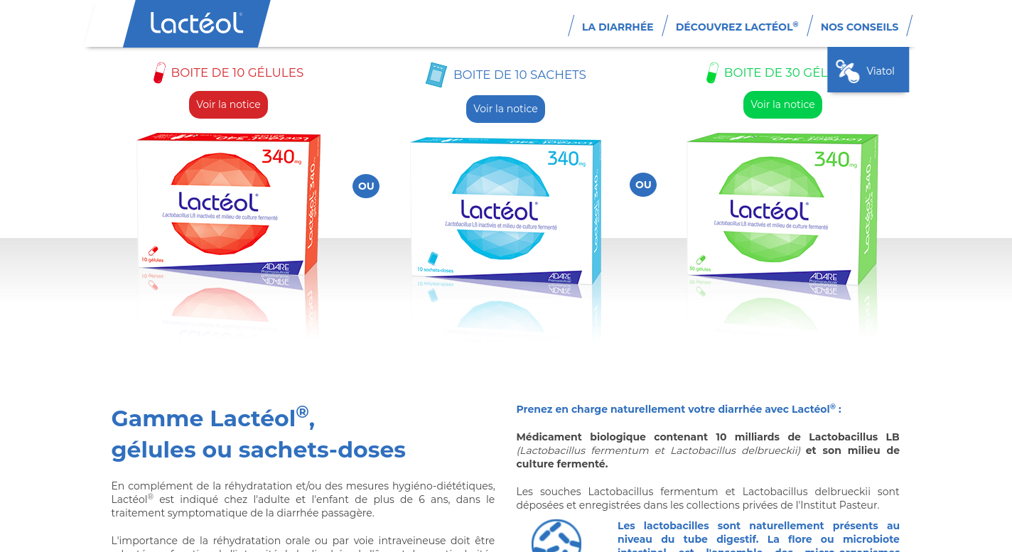Screenshot of a page of the Lacteol website