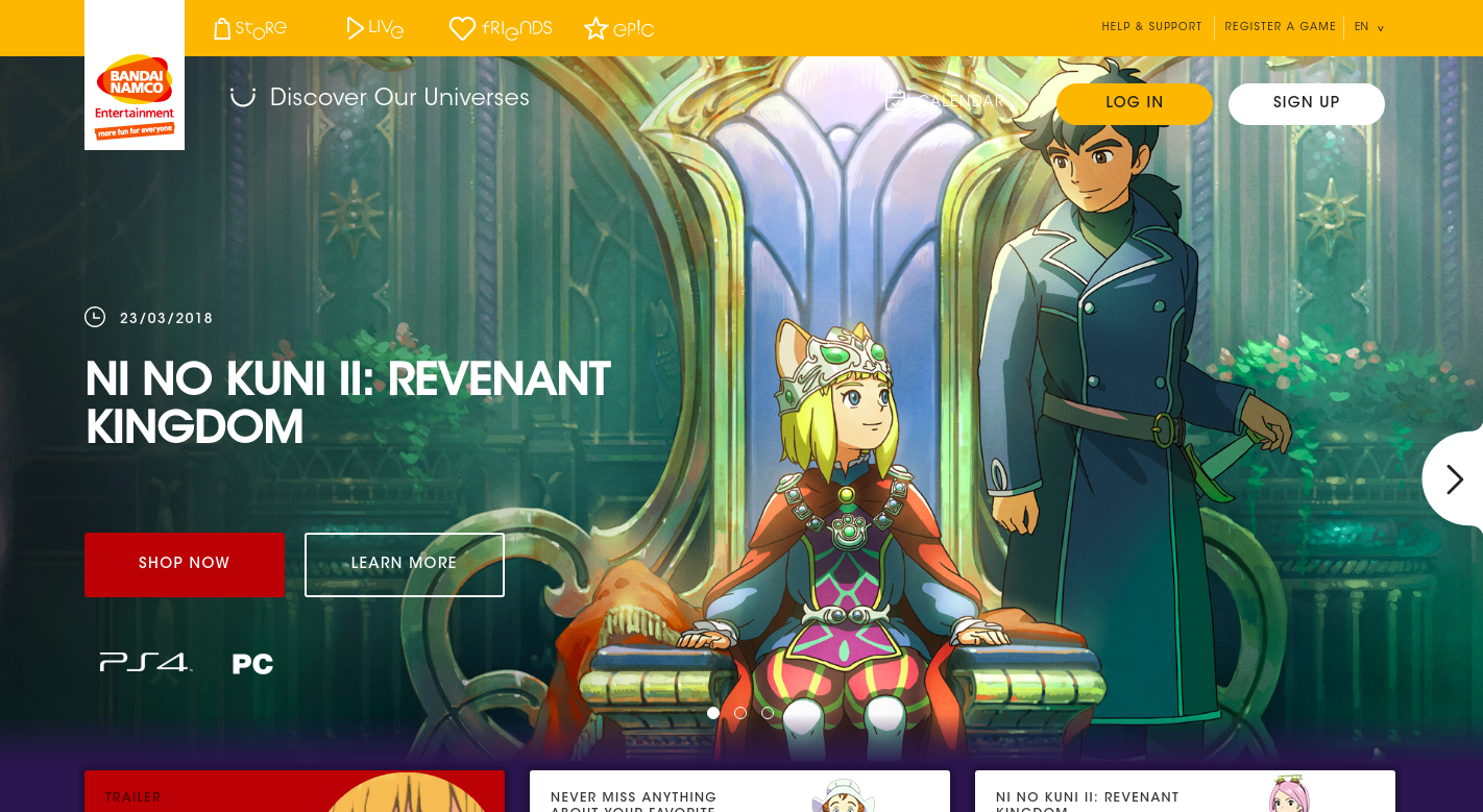 Screenshot of Bandai Namco homepage