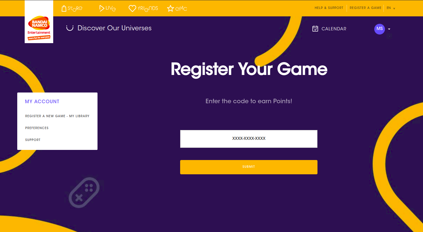 Screenshot of the Game registration form on Bandai Namco website