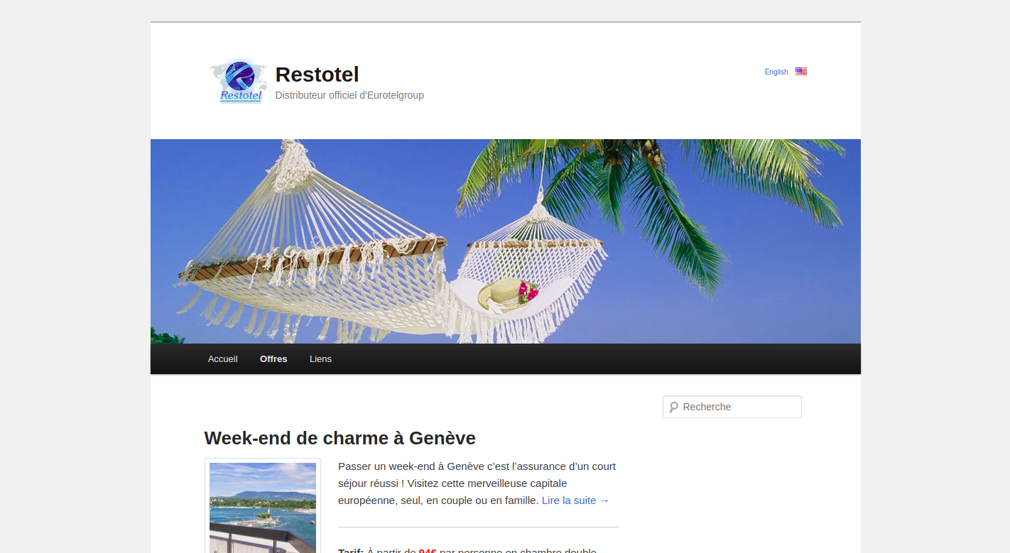 Screenshot of the Restotel website homepage