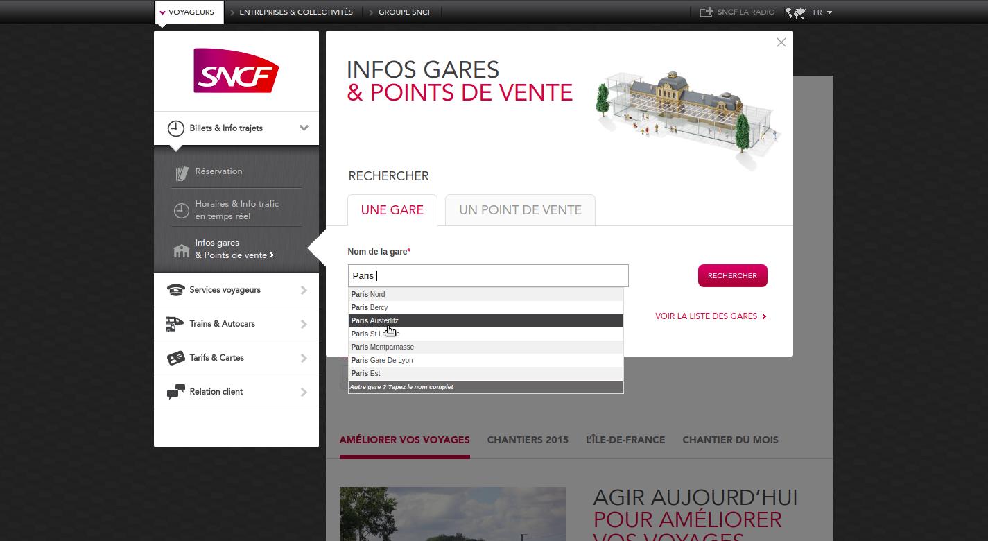 Screenshot of SNCF online booking form.