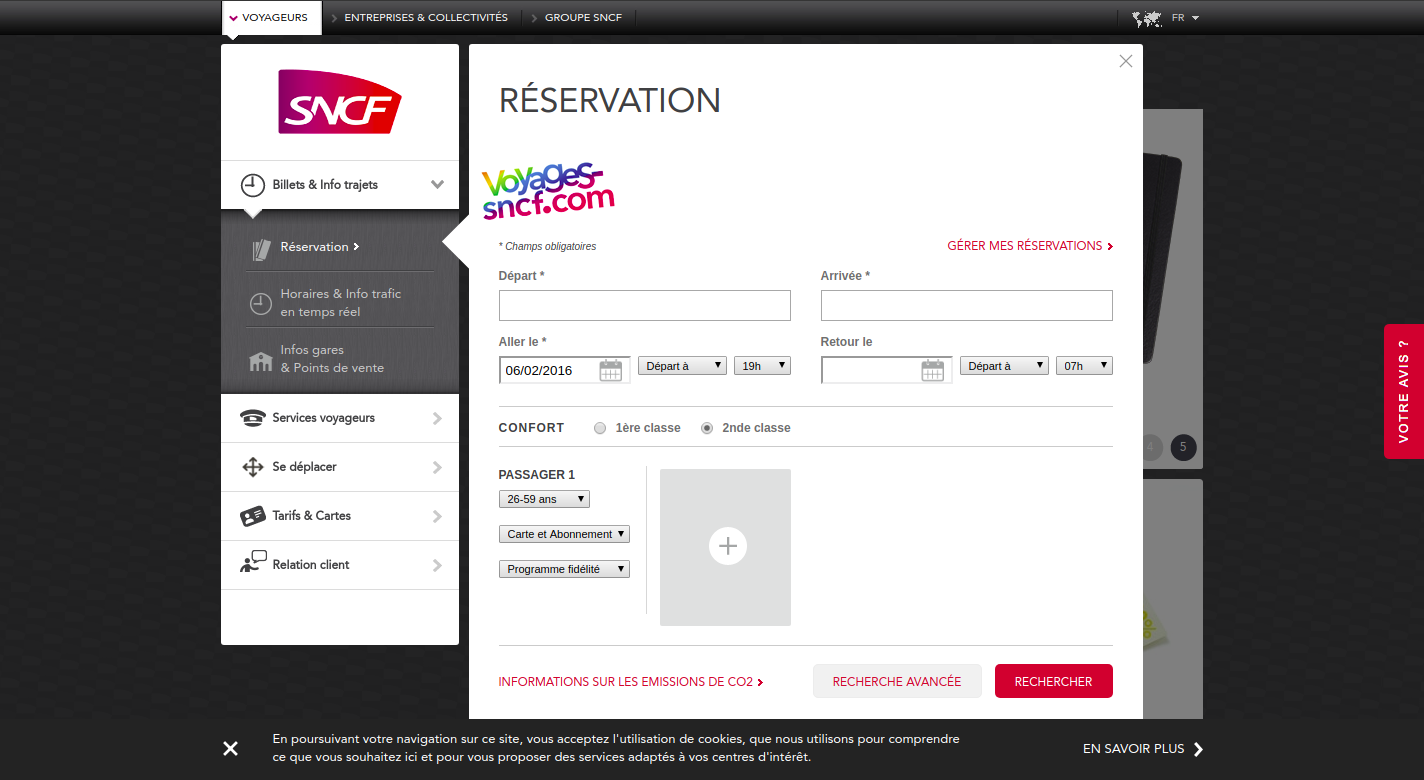 Screenshot of SNCF.com homepage