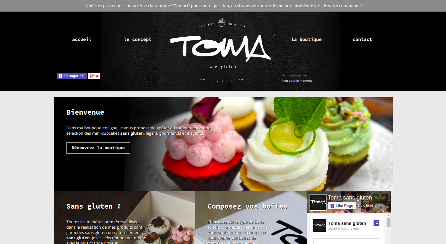Screenshot of Toma Sans Gluten homepage