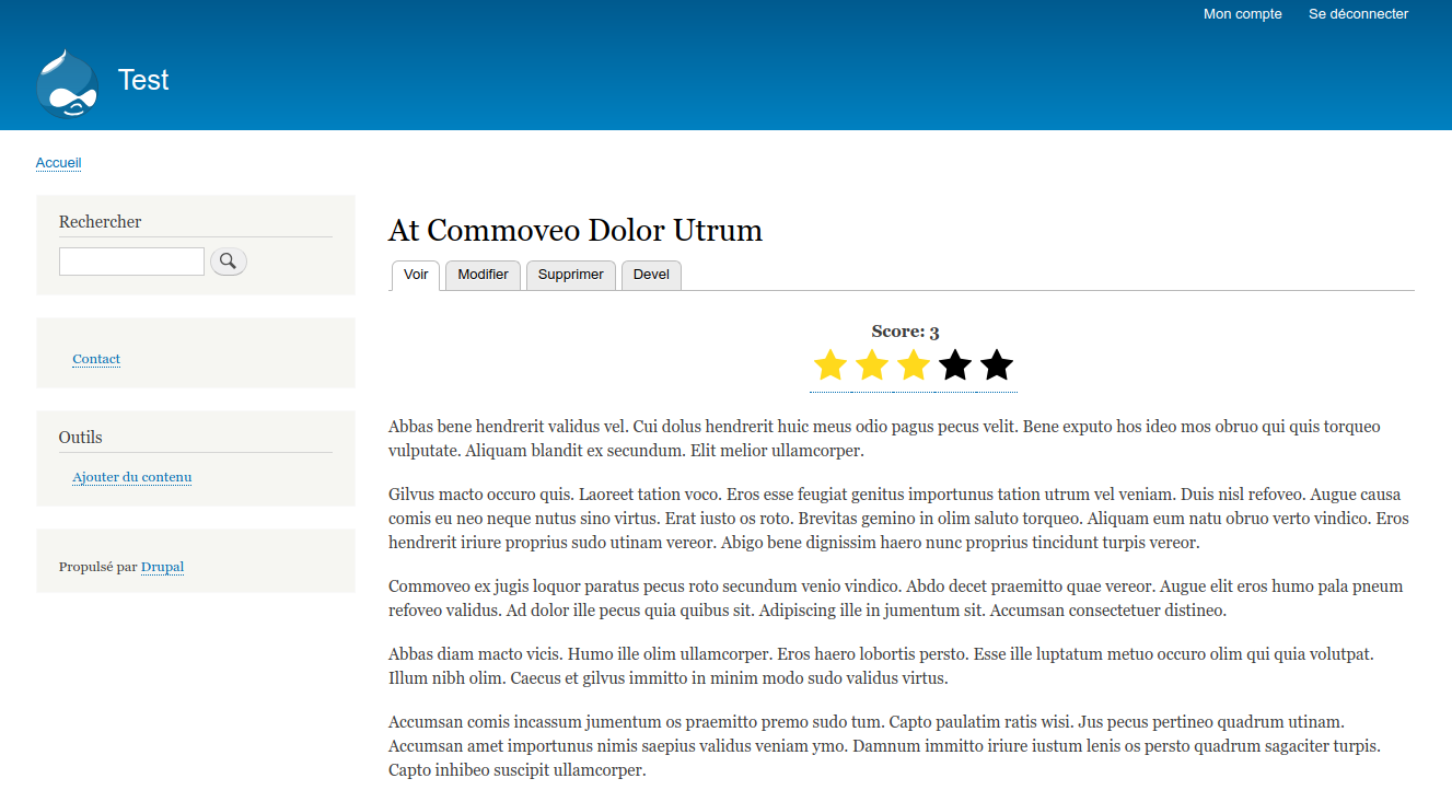 Screenshot of the Flag Rating component on front end with Drupal default theme