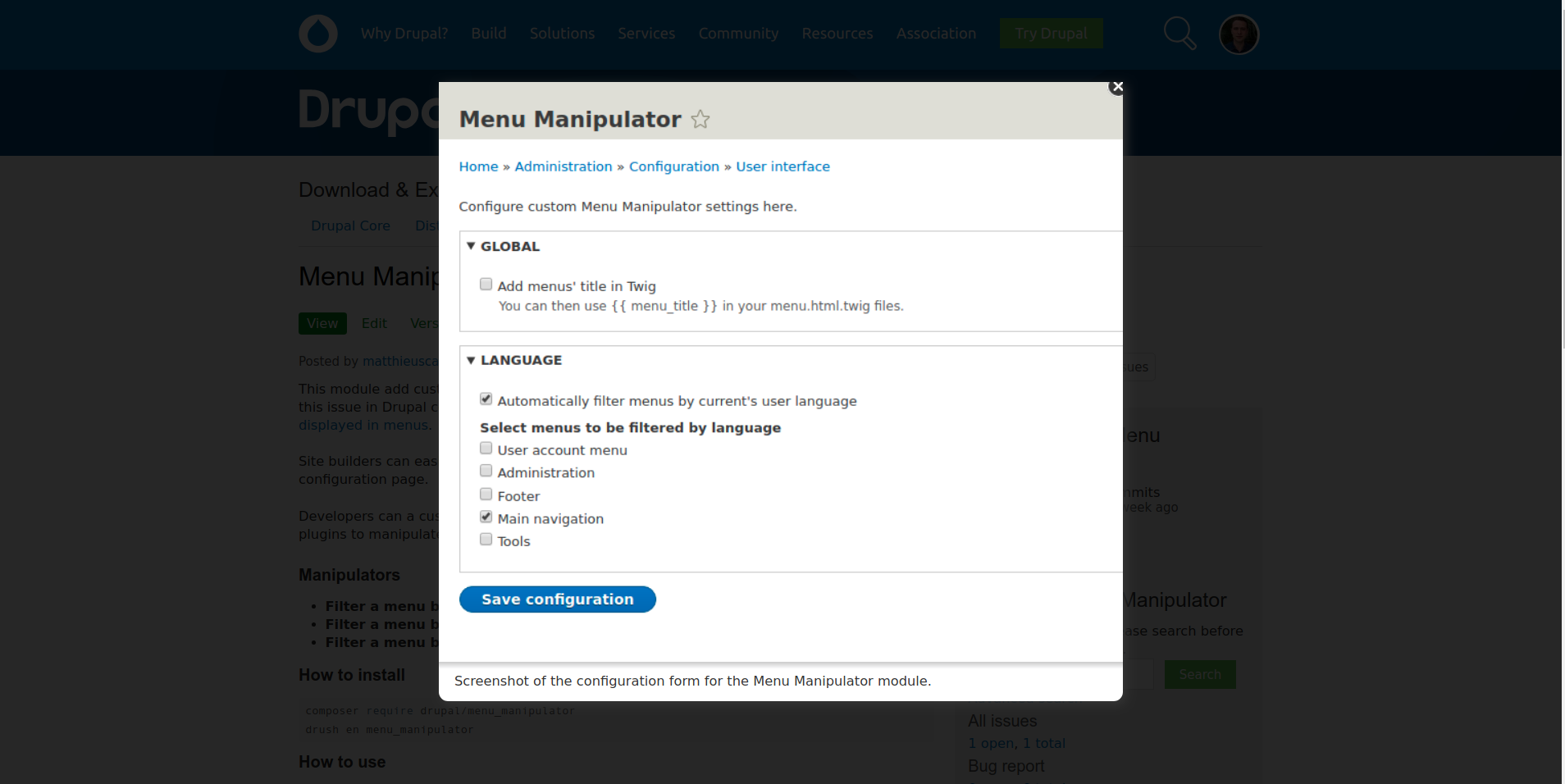 Screenshot of the module admin page
