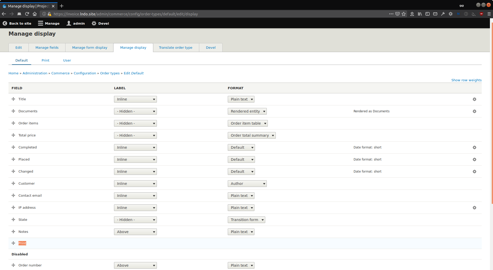 Screenshot of Commerce Order default display configuration page