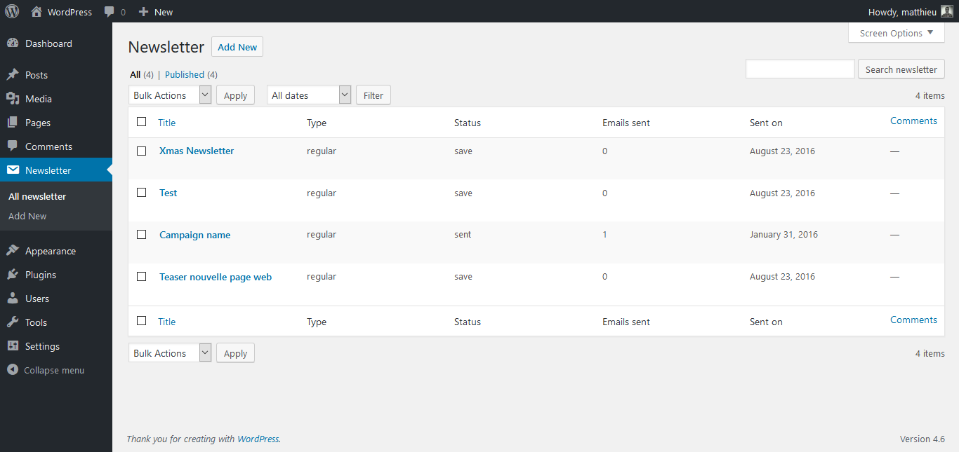 Screenshot of the WordPress MailChimp Campaign admin interface
