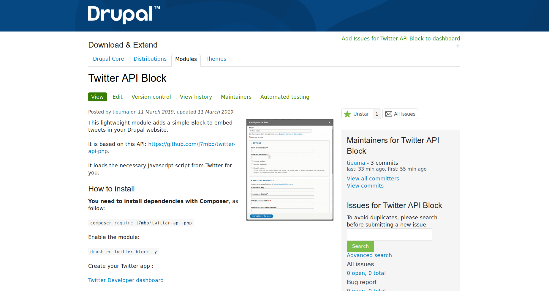 Twitter API Block module page on Drupal.org