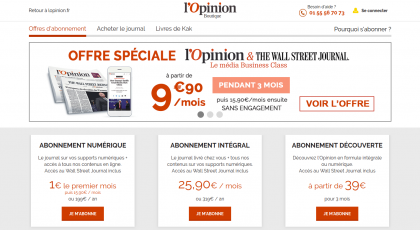 Screenshot of L'Opinion promotion page