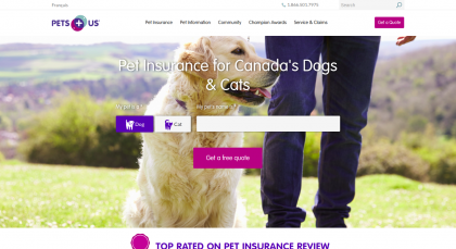 Screenshot of the PetsPlusUs website homepage