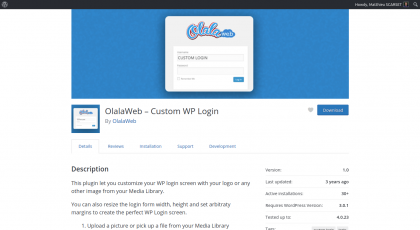 Screenshot of the plugin page on WordPress