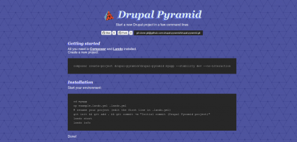 Screenshot of the Drupal Pyramid dot org website with instruction about the quick install.