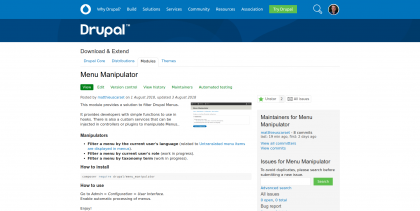 Screenshot of the module page on drupal.org
