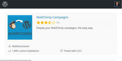 Screenshot of the WordPress MailChimp Campaign plugin card